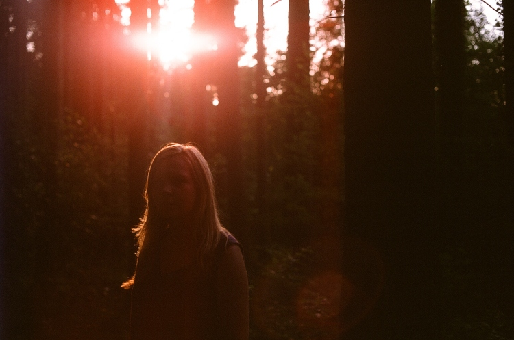 Girl, wood, sun, flare, vintage, hipster, sunset, germany