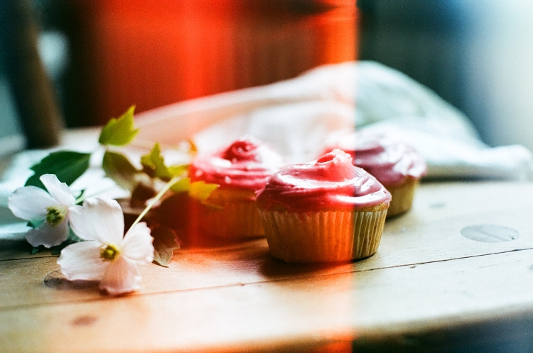 Vanilla Cupcake with Raspberry Frosting
